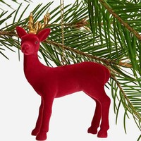 Flocked Deer Ornament- Red One