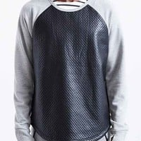 Feathers Akiev Faux Leather Crew Neck Sweatshirt- Black