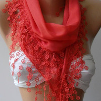 ON SALE....Coral Color - Cotton -Scarf-Shawl....Bridesmaids Gifts....Feminine...