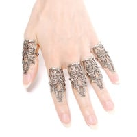 Daenerys Finger Armor - Set of 5 - Unisex Antiqued Sterling Silver Plated Filigree Rings with Side Flourishes - By Ghostlove