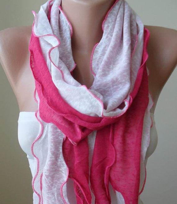 Ruffle Scarf in Pink - Combed Cotton - Summer Design - New