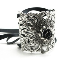 Ikebana Cuff - Neo Victorian Gothic Lolita Antiqued Sterling Silver Plated Filigree Wrist Cuff Bracelet with Ribbon Corseting - by GhostLove