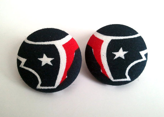 Handmade Houstan Texans symbol large button earrings