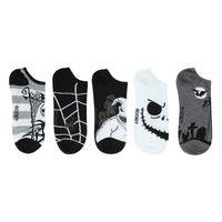 The Nightmare Before Christmas Striped Web No-Show Socks 5 Pair