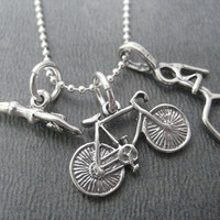SWIM BIKE RUN Tri - 20 inch Sterling Silver Triathlete Necklace - Triathlon Jewelry on 20 inch Sterling Silver chain