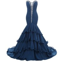 Mic Dresses Long Chiffon Mermaid Party Dress Prom Gown Ruffles Rhinestones
