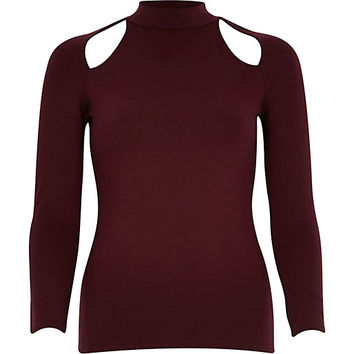 River Island Womens Dark red cut out turtle neck top