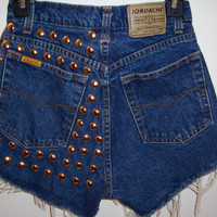 Back Studded High Waisted Denim Shorts