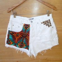SUMMER SALE Highwaisted Southwestern Studded White GUESS Denim Shorts Coachella  Size 29 high waist