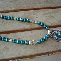 Teal necklace 22 inch chain  1 1/4 inch medallion woman gift OOAKHandmade Jewelry