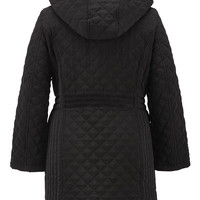 Black quilted plus size jacket with hood