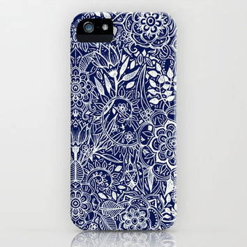 Detailed Floral Pattern in White on Navy iPhone & iPod Case by micklyn