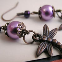 Purple pearl and copper dragonfly earrings