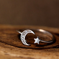 Simple Crescent Moon Star Ring Adjustable Open ring Silver Plated Jewelry gift idea