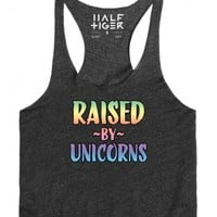 Raised by Unicorns-Unisex Heather Onyx T-Shirt