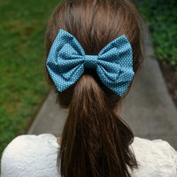 Turquoise and White Polka Dot Bow