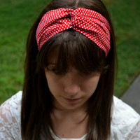Red and White Teardrop Turban Headband