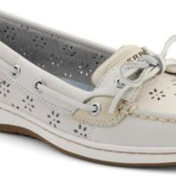 Sperry Top-Sider Angelfish Floral Perf Leather Boat Shoe WhitePerfLeather, Size 9W  Women's Shoes