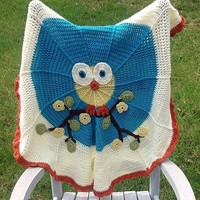 Owl baby afghan, baby blanket, crocheted throw, teal crochet afghan, round baby blanket