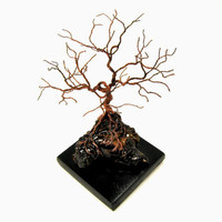 Recycled copper wire and driftwood- A twisted wire tree sculpture