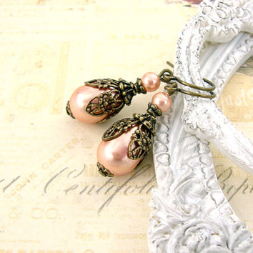 Peach Pearl Earrings - Vintage Style Neo Victoiran Earrings - Pearl Teardrop Antique Brass Bronze Filigree Earrings Swarovski Peach Jewelry