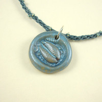 Sea Blue Sand Pearlized Polymer Pendant Kumihimo Cord