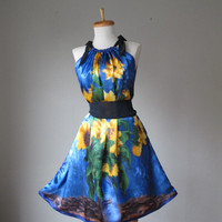 Dress / WEAR ART / Van Gogh / Blue Yellow / Romantic / Dreamy / Soft / Silk / Flowy / Delicate / Tunic / Art Dress