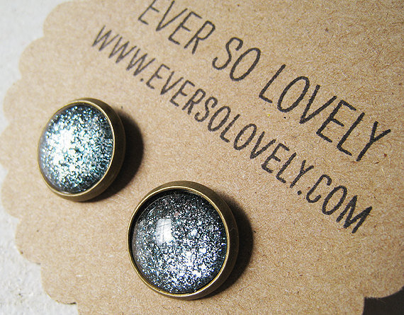 twilight skies -  gunmetal black silver metallic sparkly nickel free post earrings - summer nights and starry skies