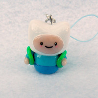 Finn Chibi (from  Adventure Time), Charm with Cell Phone Strap