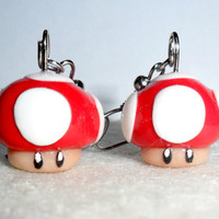 Super Mario Mushroom Earrings :D