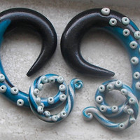 "Long Tentacles Plugs - One PAIR - Sizes 6g, 4g, 2g, 0g, 00g, 7/16"", 1/2"", 9/16"", 5/8"" - Made to Order"