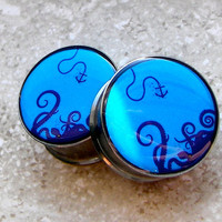 "Monster of the Deep Plugs - One PAIR - Sizes 2g, 0g, 00g, 7/16"", 1/2"", 9/16"", 5/8"", 3/4"", 7/8"", 1"" - Made To Order"