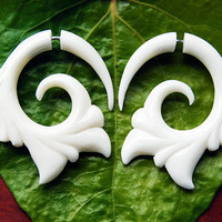 Fake Gauges Livity Flower Bone Earrings by TribalStyle on Etsy