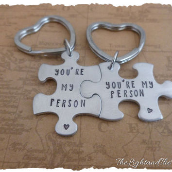 Hand Stamped Relationship - You're my person - Puzzle Key Chain  - Matching Set - his her - his his - her her - gift for her - gift for him
