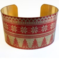 Holiday Christmas Ugly Sweater Tree and Snowflake Vintage Style Brass Cuff Bracelet