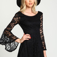 Black Lacy Bell Sleeves Flare Dress