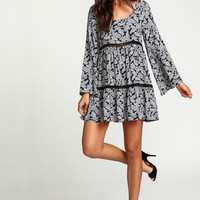 Paisley Crochet Bell Crepe Dress