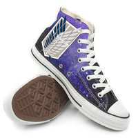 Attack on Titan with Galaxy Background Shoes,High Top,canvas shoes,Painted Shoes,Special Christmas Gift,Birthday gift,Men Shoes,Women Shoes