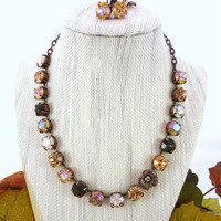 "Swarovski crystal necklace, ""Autumn in Vermont"",  shades of topaz, leaf accent, 11mm large fancy stones,antique copper"