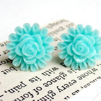 Aqua Blooming Flower Stud Earrings