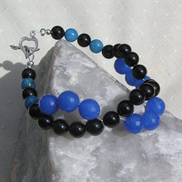 Black Onyx &amp; Blue Jade Crystal Gemstone Bracelet - &quot;Gentian&quot;