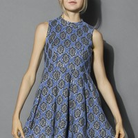 Floral Lace Print Sleeveless Dress in Blue Blue