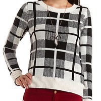 Plaid Pullover Sweater by Charlotte Russe - Black Combo