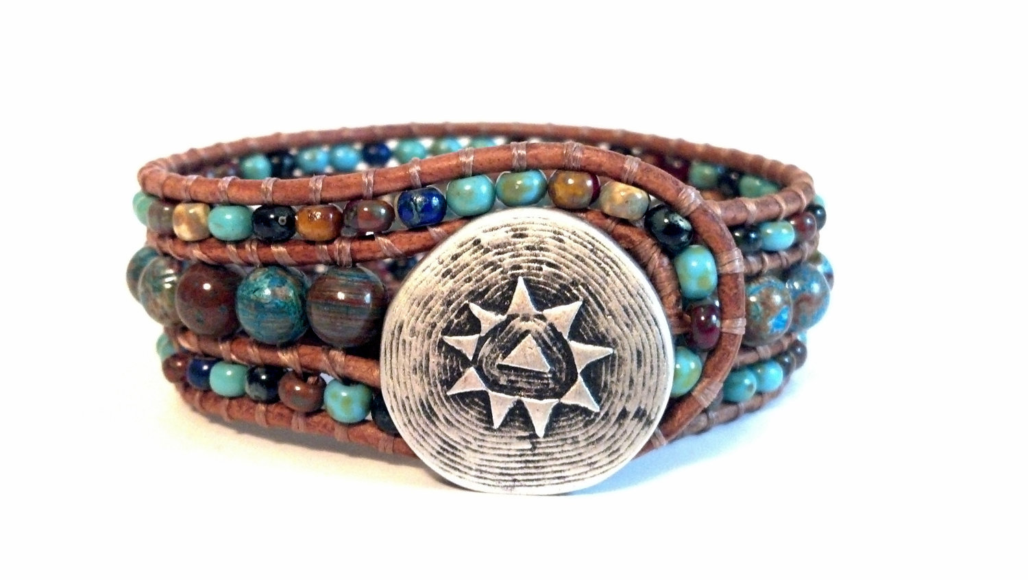 Mosaic Cuff, Beaded Leather Cuff Bracelet, Southwest Chic, Chan Luu Inspired, PZW071