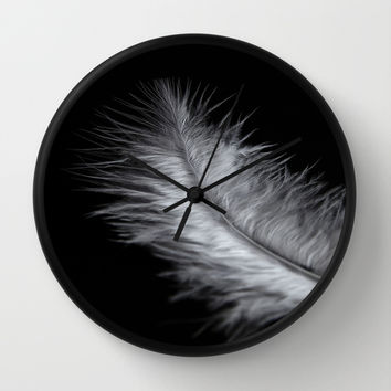 feather in white Wall Clock by VanessaGF