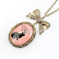 Cute Pink Bow Rabbit Locket Pendant Necklace wholesale from yiwu jewelry wholesale market.