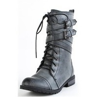 Tina02 Ankle Wrap Combat Boots BLACK