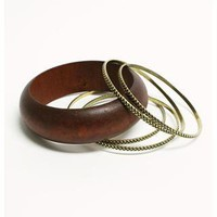 WOOD ETCH BANGLE SET OF FIVE