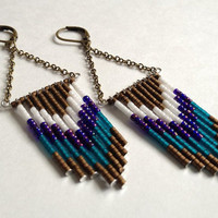 Bronze, Teal, Purple and, White 70's Inspired Beaded Earrings