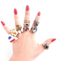 Vintage Ring Lot - Huge Costume Jewelry Destash of 12 Rings - Ring Destash